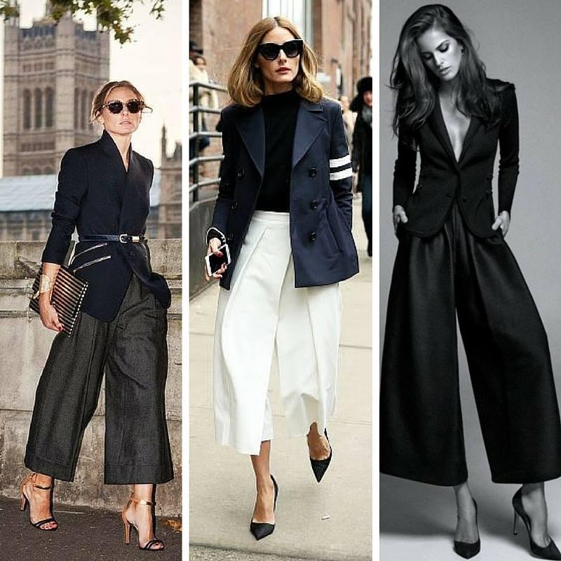 Spodnie Culottes w wersji eleganckiej.